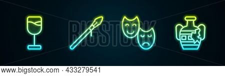 Set Line Wine Glass, Medieval Spear, Comedy And Tragedy Masks And Broken Amphorae. Glowing Neon Icon