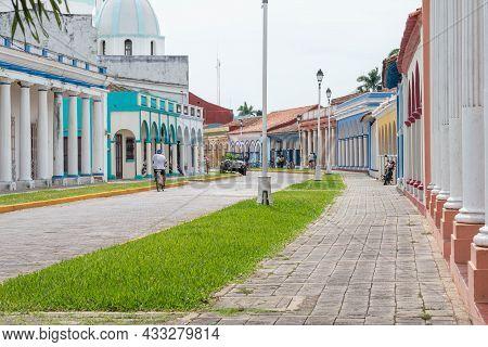 Tlacotalpan, Veracruz, Mexico- August 21, 2021: Streets Of Mexican Colonial Town Tlacotalpan Unesco