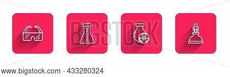 Set Line Safety Goggle Glasses, Test Tube And Flask, Radiation And Alcohol Or Spirit Burner With Lon