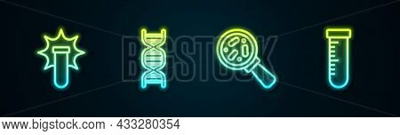 Set Line Chemical Explosion, Dna Symbol, Microorganisms Under Magnifier And Test Tube And Flask. Glo