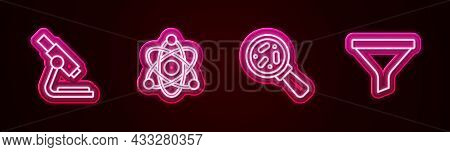 Set Line Microscope, Atom, Microorganisms Under Magnifier And Funnel Filter. Glowing Neon Icon. Vect