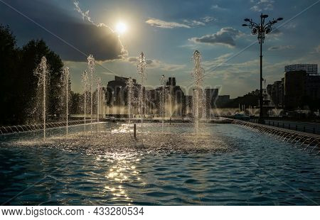 Bucharest, Romania - September 14, 2021: Water Jets That Sprinkle From The Fountains In The Unirii S