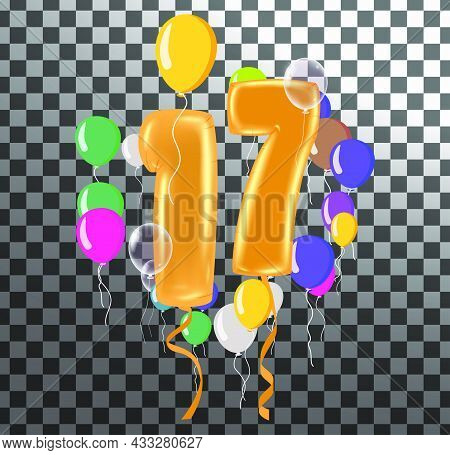 Happy Birthday Seventeen Year, Fun Celebration Anniversary Greeting Card With Number, Balloon On Bac