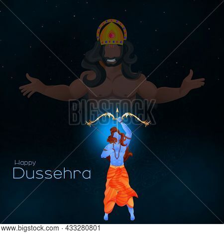Hindu Mythological Rama Targeting To Demon Ravana On Black And Blue Background For Happy Dussehra Celebration Concept.