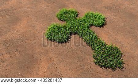 Concept conceptual green summer lawn grass symbol shape on brown soil or earth background, sign of religious christian cross. 3d illustration metaphor for God, Christ, religion, Jesus, prayer, belief