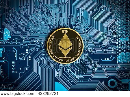 Ethereum Coin On Blue Circuit Digital Background