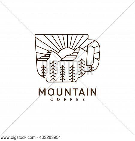 Mountain And Mug Illustration Monoline Or Line Art Style, Mountain, Tree, Sun, Forest Vector Design