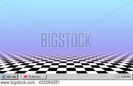 Vaporwave Abstract Background With Retro Computer Interface Worktable And Checkered Floor Wallpaper