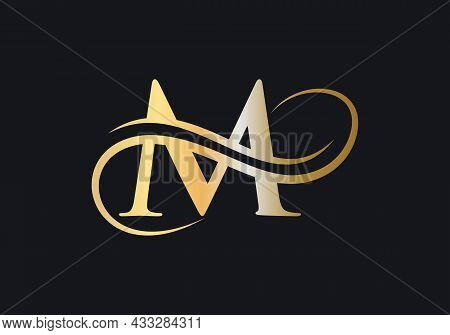 M Letter Initial Luxurious Logo Template. M Logo Golden Concept. M Letter Logo With Golden Luxury Co