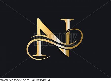 N Letter Initial Luxurious Logo Template. N Logo Golden Concept. N Letter Logo With Golden Luxury Co