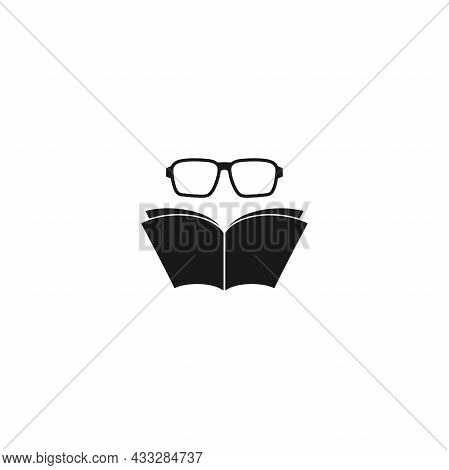 Open Book With Glasses On White Background. Flat Reading Icon Isolated On White. Vector Science, Kno