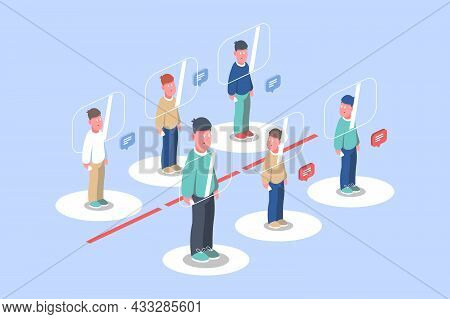 People Follow Distance Rule Vector Illustration. People In Bank Queue Not Cross Red Line Flat Style.