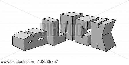 Construction Of Stone Blocks, Industrial Text, Cement Foundation, Vector Illustration With Contour L