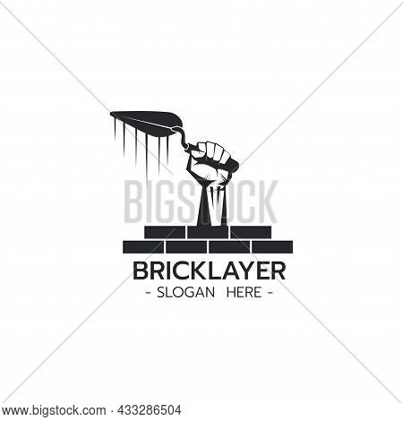 Bricklayer Logo With Hand Holding Trowel Construction Building Concrete Cement Concept On White Back