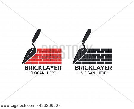Bricklayer Logo With Trowel Construction Building Concrete Cement Concept On White Background Vector