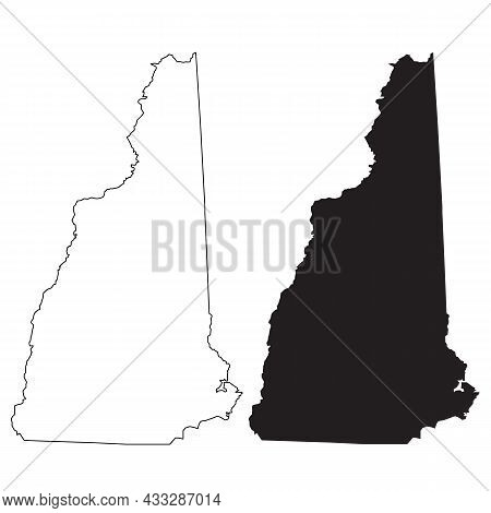 New Hampshire Map On White Background. New Hampshire State Sign. Outline Map Of New Hampshire. Flat