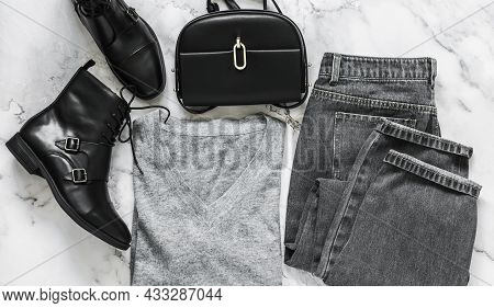 Casual Women's Clothing Set - Grey Mom's Jeans, Cashmere Pullover, Black Boots, Cross Body Black Bag