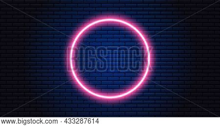 Neon Circle On Black Background. Futuristic Sci Fi Modern Neon Glowing Circle Frame For Banner On Da