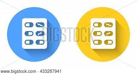 White Pills In Blister Pack Icon Isolated With Long Shadow Background. Medical Drug Package For Tabl