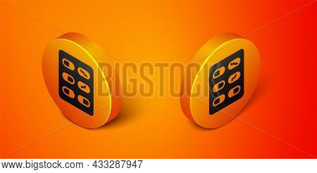 Isometric Pills In Blister Pack Icon Isolated On Orange Background. Medical Drug Package For Tablet,
