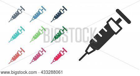 Black Syringe Icon Isolated On White Background. Syringe For Vaccine, Vaccination, Injection, Flu Sh