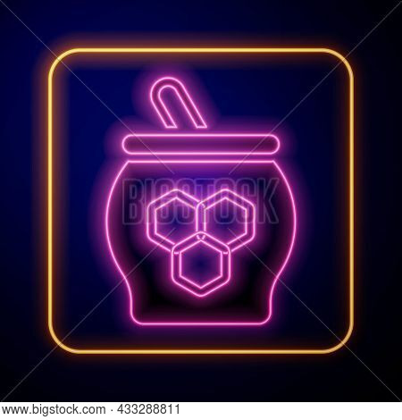 Glowing Neon Jar Of Honey And Honey Dipper Stick Icon Isolated On Black Background. Food Bank. Sweet