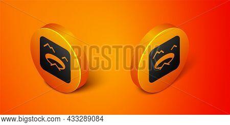 Isometric Winter Fishing Icon Isolated On Orange Background. Round Ice Frame. Hole In Ice. Orange Ci