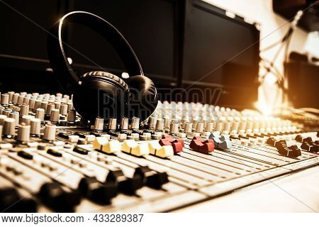Headphone And Sound Mixer In Studio For Sound Control System And Audio Recording Equipment And Micro