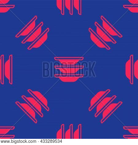 Red Washing Dishes Icon Isolated Seamless Pattern On Blue Background. Cleaning Dishes Icon. Dishwash
