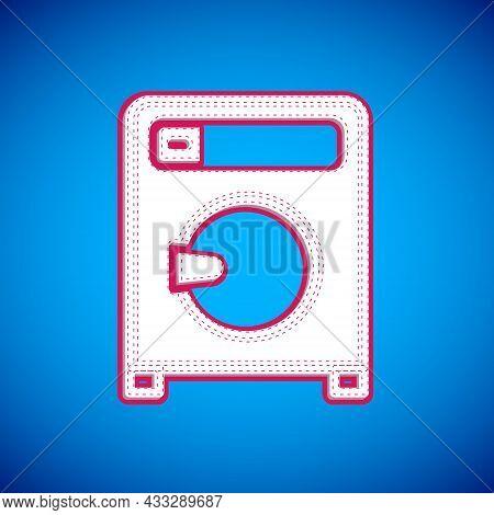 White Washer Icon Isolated On Blue Background. Washing Machine Icon. Clothes Washer - Laundry Machin