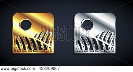 Gold And Silver Agriculture Wheat Field Farm Rural Nature Scene Landscape Icon Isolated On Black Bac