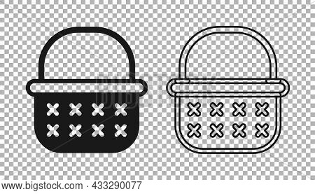 Black Wicker Basket Icon Isolated On Transparent Background. Vector