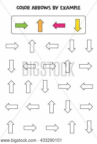 Color Arrows By Scheme. Educational Math Game For Kids.