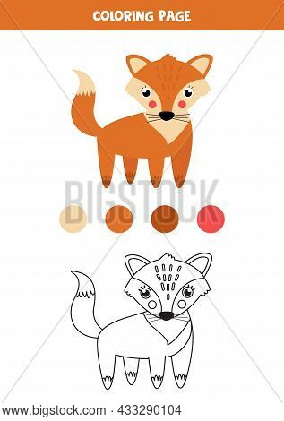 Coloring Page With Cute Cartoon Fox. Worksheet For Children.