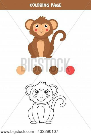 Coloring Page With Cute Brown Monkey. Worksheet For Children.