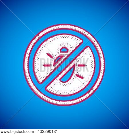 White Stop Colorado Beetle Icon Isolated On Blue Background. Vector