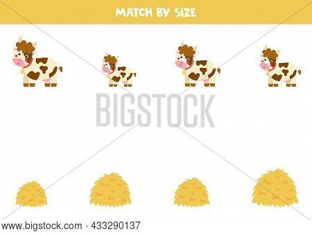 Match Cows And Hay Stacks By Size. Educational Logical Game For Kids.