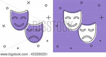 Set Comedy And Tragedy Theatrical Masks Icon Isolated On White And Purple Background. Vector