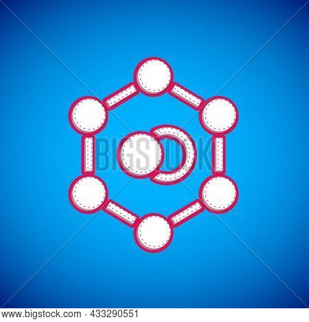 White Molecule Icon Isolated On Blue Background. Structure Of Molecules In Chemistry, Science Teache
