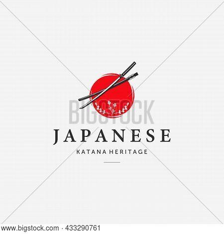 Sun Katana Ninja Samurai Logo Minimalist Vintage Vector, Illustration Design Of Japanese Culture Her