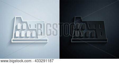 Paper Cut Coliseum In Rome, Italy Icon Isolated On Grey And Black Background. Colosseum Sign. Symbol