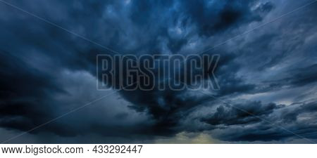Dark Storm Clouds. An Impending Storm, Hurricane Or Thunderstorm. Bad Extrime Weather.