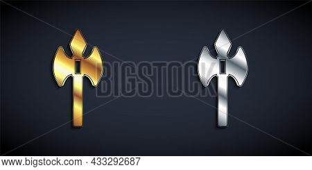 Gold And Silver Medieval Axe Icon Isolated On Black Background. Battle Axe, Executioner Axe. Medieva