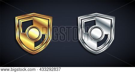 Gold And Silver Shield Icon Isolated On Black Background. Guard Sign. Security, Safety, Protection,