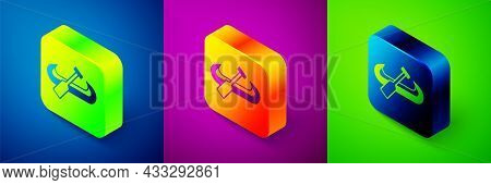 Isometric Kayak And Paddle Icon Isolated On Blue, Purple And Green Background. Kayak And Canoe For F