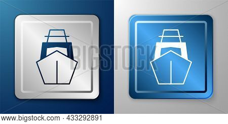 White Yacht Sailboat Or Sailing Ship Icon Isolated On Blue And Grey Background. Sail Boat Marine Cru