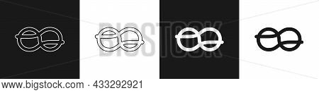 Set Nautical Rope Knots Icon Isolated On Black And White Background. Rope Tied In A Knot. Vector
