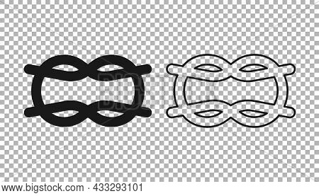 Black Nautical Rope Knots Icon Isolated On Transparent Background. Rope Tied In A Knot. Vector