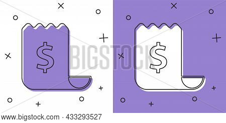 Set Paper Check And Financial Check Icon Isolated On White And Purple Background. Paper Print Check,