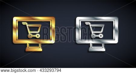 Gold And Silver Shopping Cart On Monitor Icon Isolated On Black Background. Concept E-commerce, E-bu
